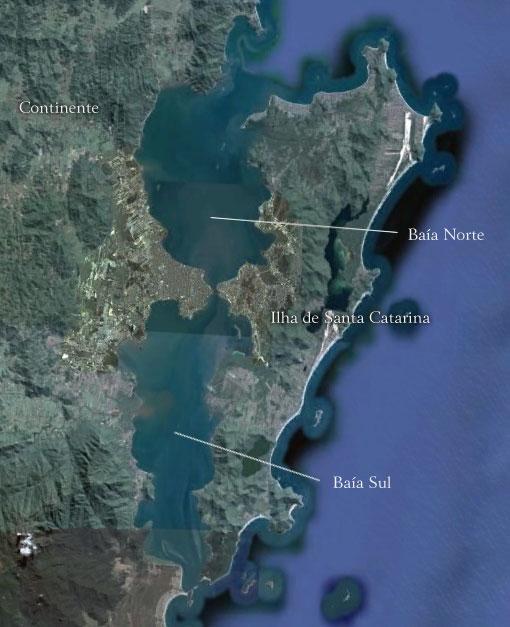 Baías Norte e Sul na Grande Florianópolis - Imagem: Google Earth
