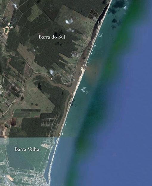 Cordão Litoral formando lagoas em Barra Sul e Barra Velha - Imagem: Google Earth