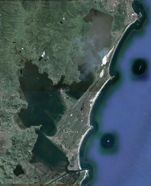 Cordão Litoral formando Laguna - Imagem: Google Earth