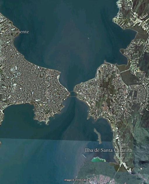 Estreito de Florianópolis - Imagem: Google Earth