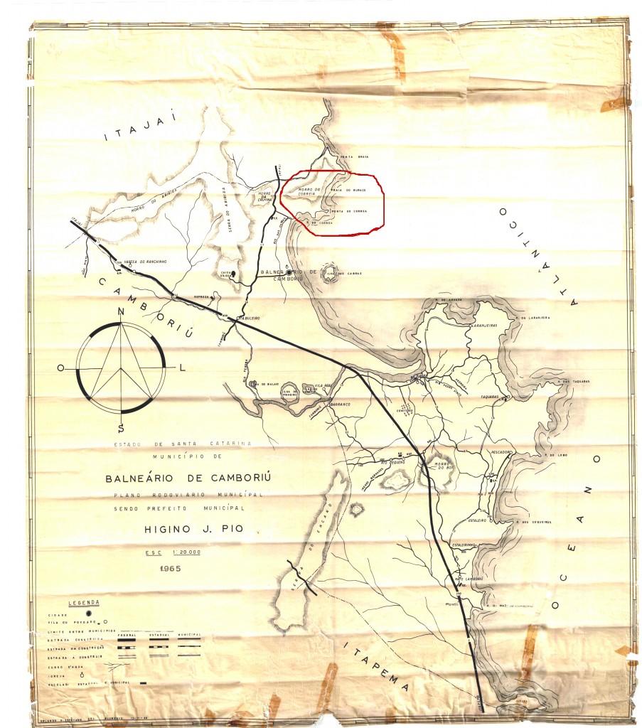 Mapa de Balneário Camboriú de 1967